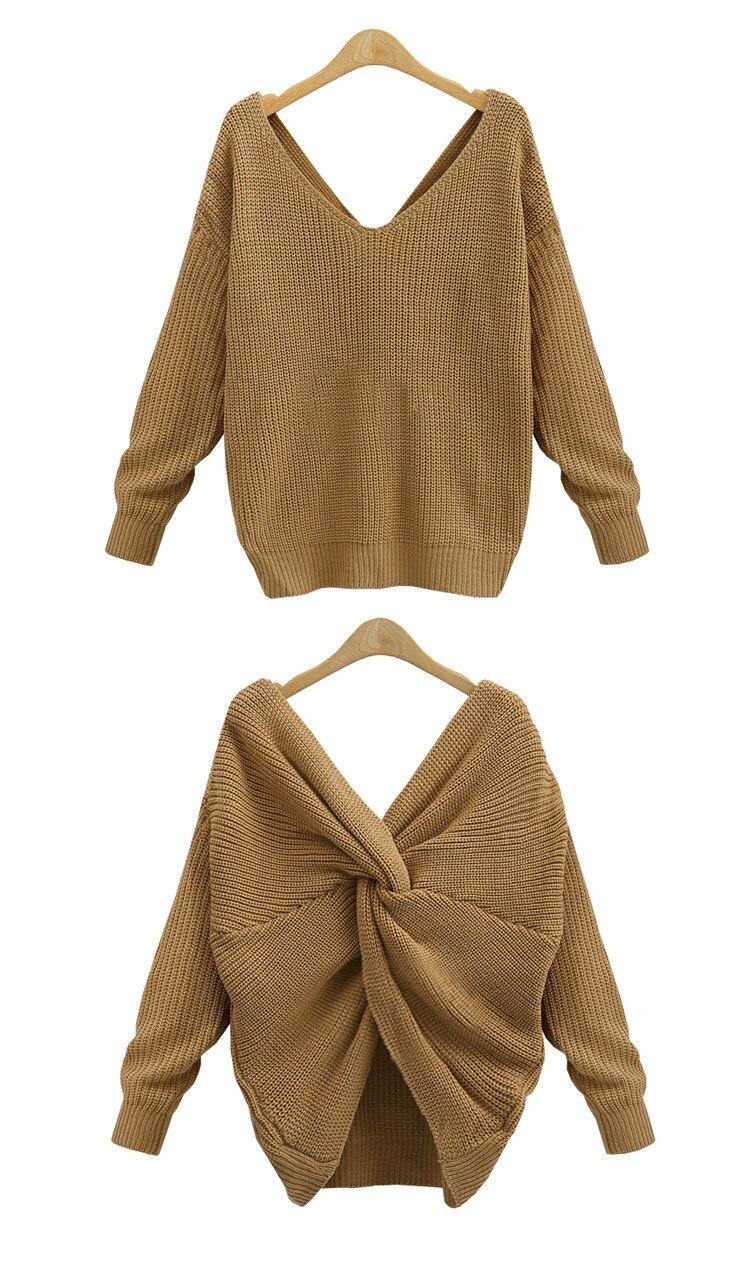 v torcido para trás camisola feminina pullovers