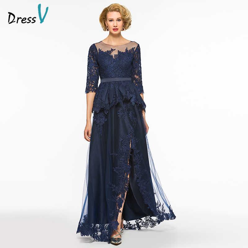 169a2e07a014 Dressv a-line long mother of the bride dress bateau neck half sleeves  appliques button