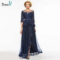 Dressv a line long mother of the bride dress bateau neck half sleeves appliques button ruffles sashes mother of the bride dress