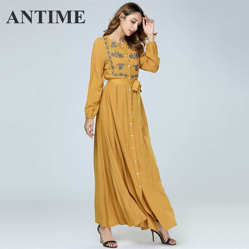 ANTIME Casual Maxi Dresses Women New Streetwear O-Neck Autumn Winter Button Sashes A-Line Long Sleeves Elegant Gold Dress 3
