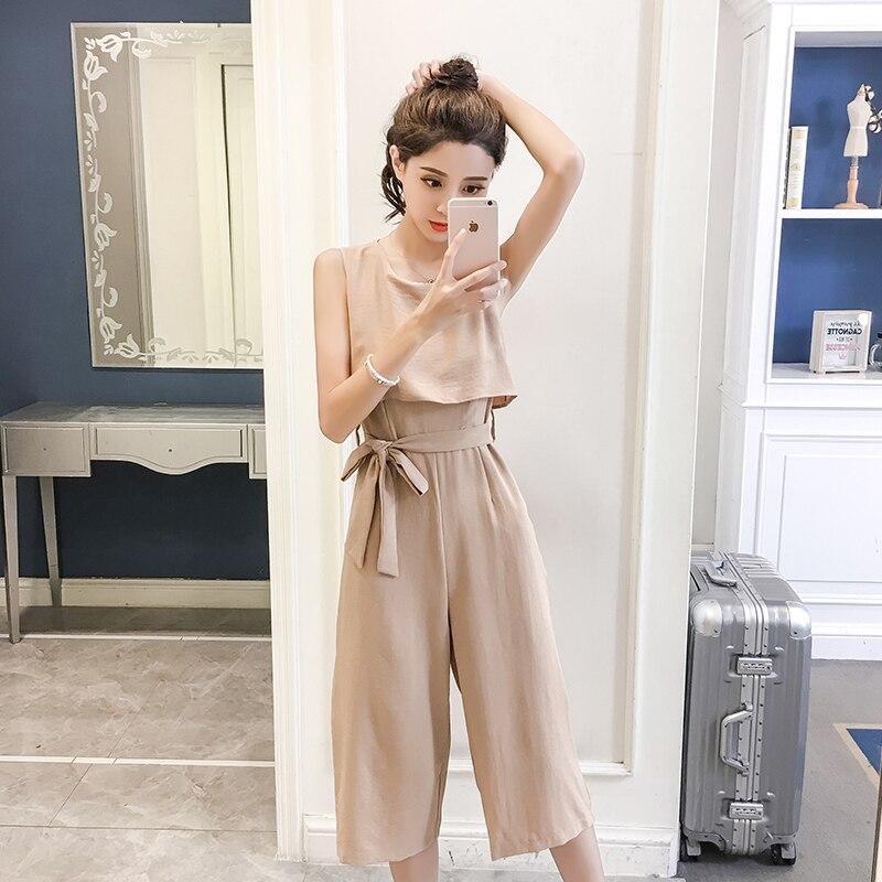 Korean Style 2019 New Women Jumpsuits High Waist Wide-leg Woman Bodysuit Rompers Womens Jumpsuit Combinaison Femme 4