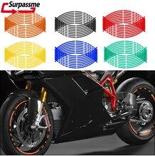 Motorcycle Wheel Reflective Sticker Strips Waterproof Sunscreen Rim Stripe Tape 18 Inches Wheels Decals Decoration Stickers 6zstickers sugar skulls reflective stickers decals waterproof sunscreen motogp x15
