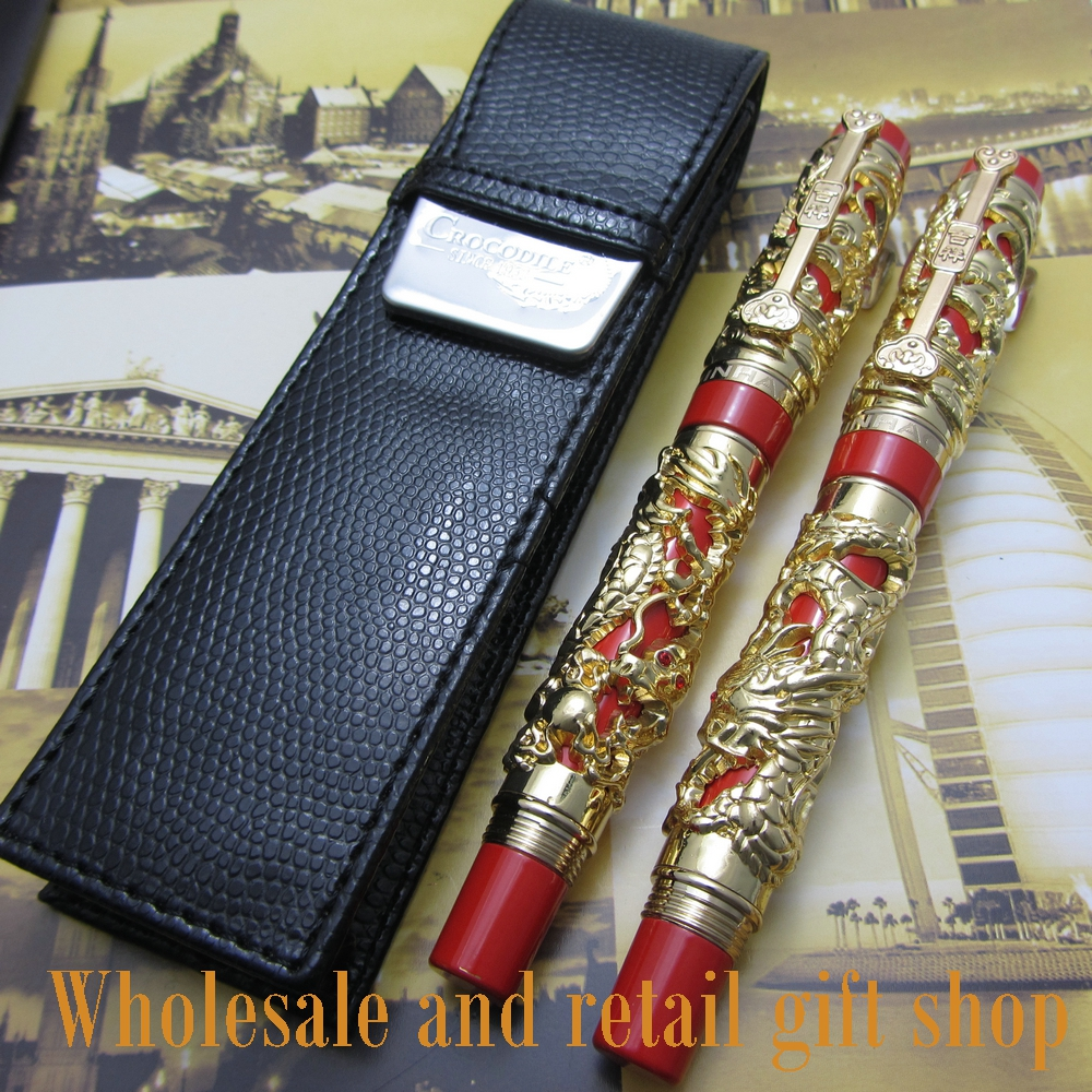 2pcs pen Jinhao Long Feng heavy gold red Chinese Classical luck clip Dragon and pen bag free shipping advanced roller ball pen jinhao chinese dragon bronze white with black heavy gife pen