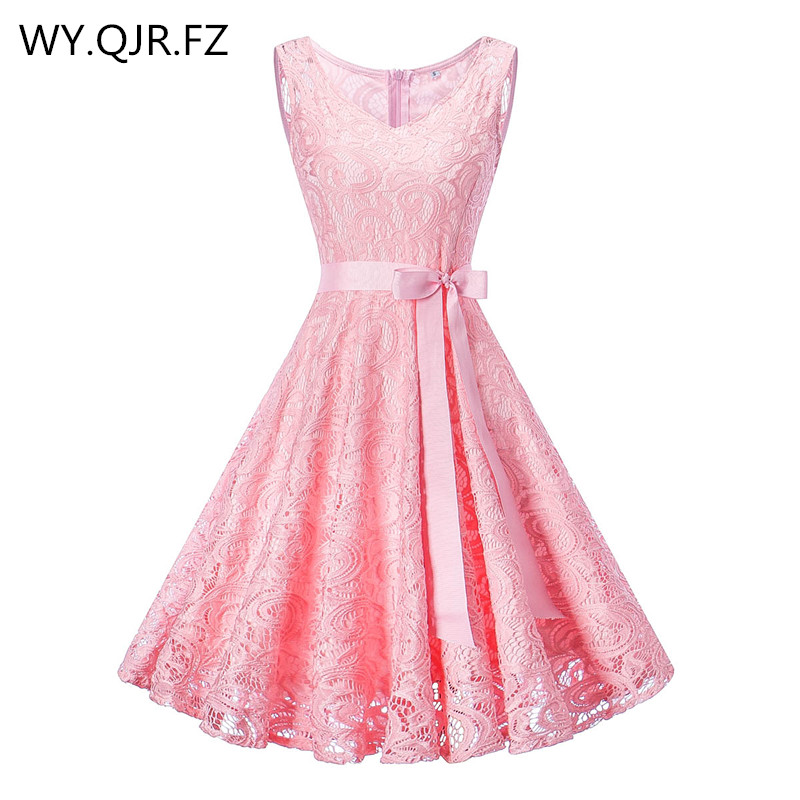 OML510F#V-neck Pink Bow Short Bridesmaid Dresses Wedding Party Dress 2019 Prom Gown Ladies Women's Fashion Wholesale Clothing