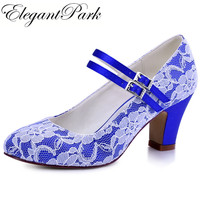 HC1701 C Woman Wedding Bridal Shoes Blue block Heel Closed Toe Mary Jane Lace Bride Lady Bridesmaid Prom Party Pump Purple Black