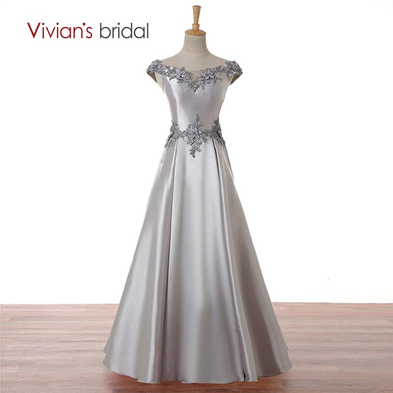 Vivian's Bridal Scoop Neck Cap Muff Satin Evening Dress En Line Snörning Appliques Beaded Formell Aftonklänning