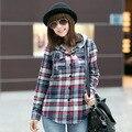 Новая мода Высокого Качества женщин топы blusa Клетчатую Рубашку Дамы Хлопчатобумажной Блузки Точка миниатюрный одежда блузки клетчатую рубашку балахон s220