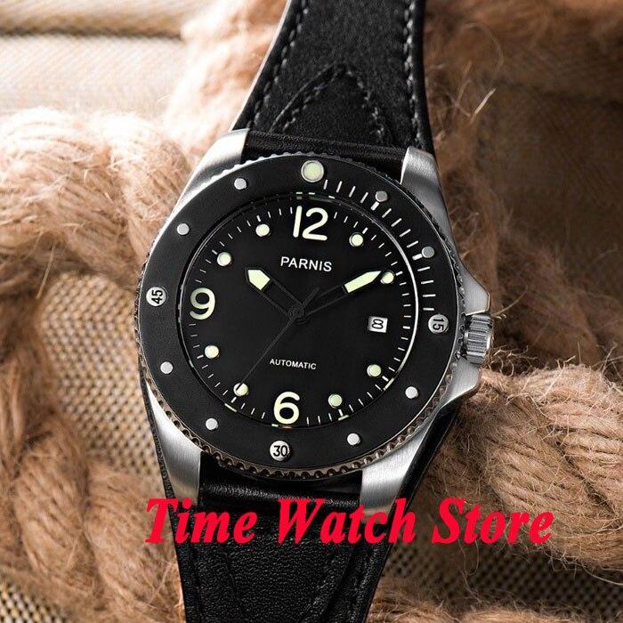 Parnis 43mm black dial sapphire glass black ceramic bezel 10ATM 21 jewels MIYOTA Automatic mens watch 427 relogio masculino цена и фото