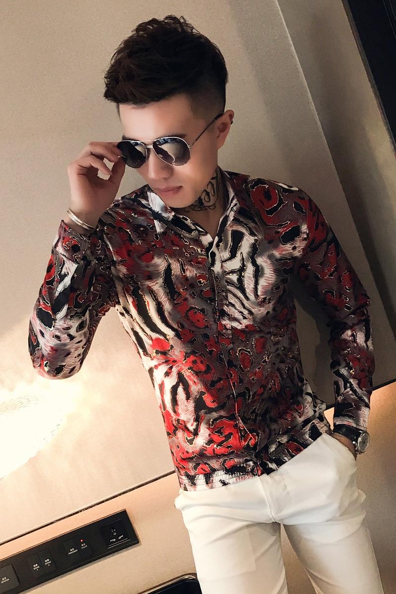 Bronzing Shirts Mens Social Club Outfits Slim Fit Fashion Men Shirts 2019 Korea Mens Casual Clothing Floral Printed Shirts 6