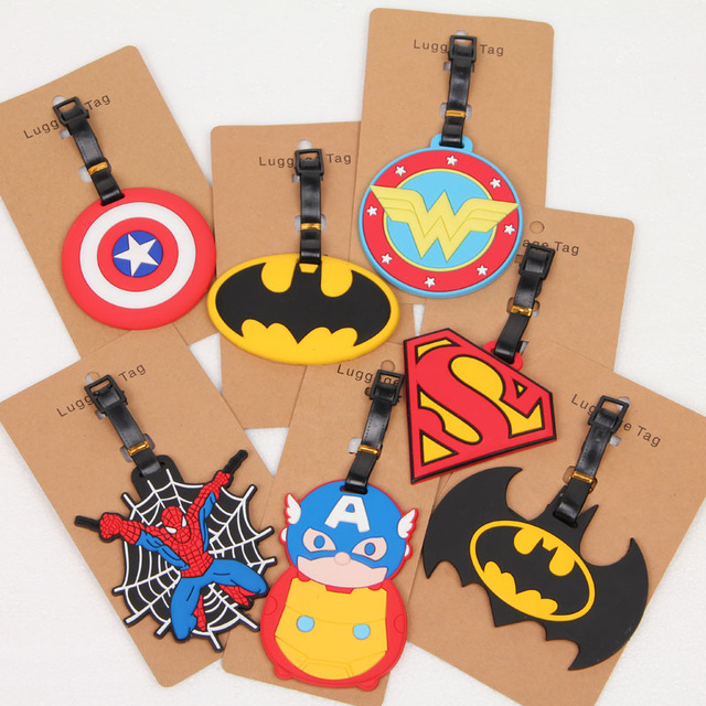 IVYYE Superman Batman Logo Anime Bag Accessories Luggage Tag Suitcase ID Address Portable Tags Holder Baggage Travel Labels New