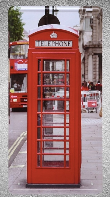 1 Pc London Uk Britain Manchester Phone Booth Plaques Tin Plates Signs Wall Decoration