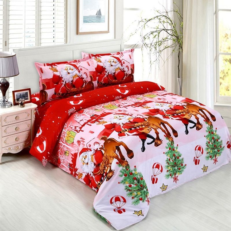 Mode bébé literie ensemble coton 3D housse de couette ensemble drap de lit taie d'oreiller housse de couette double roi complet linge de lit lit pour noël