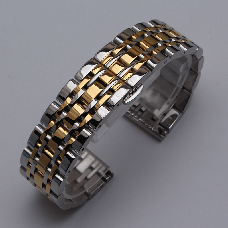 Stainless Steel 7 Points Watch Band Watch Strap Silver mixed Gold WITH METAL Butterfly Clasp Bracelet WATCHBAND 14 16 18 20 22mm watchbands 20mm 22mm gold stainless steel watch band metal clasp bracelet strap