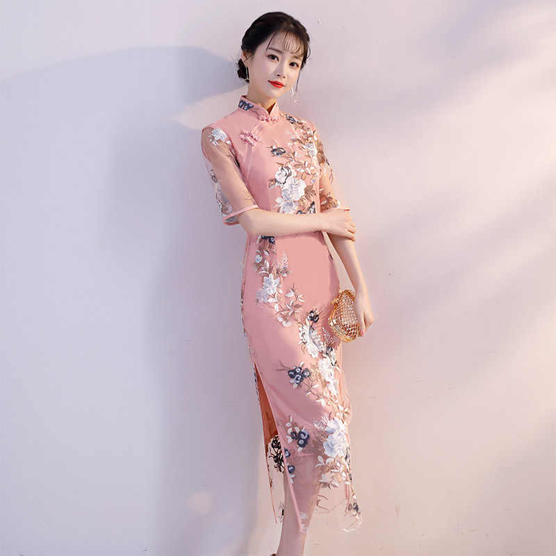 1cb7b8a6065ef New Arrival Chinese Women Lace Sexy Floral Short Qipao Vintage Elegant  Casual Cheongsam Lady Handmade Button