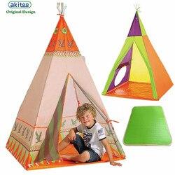Akitoo новые детские палатки, игровые дома в помещении, индейские палатки, Детские уличные замок, детский сад, треугольные детские складные пал...
