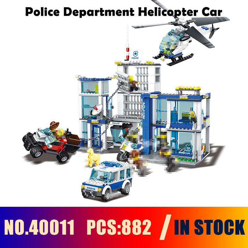 Compatible with lego City Series Models building toy 40011 882PCS Police Department Helicopter Car Building Blocks toy & hobbies wange 40011 882pcs city series police headquarters model building blocks set bricks toys for children bevle gift