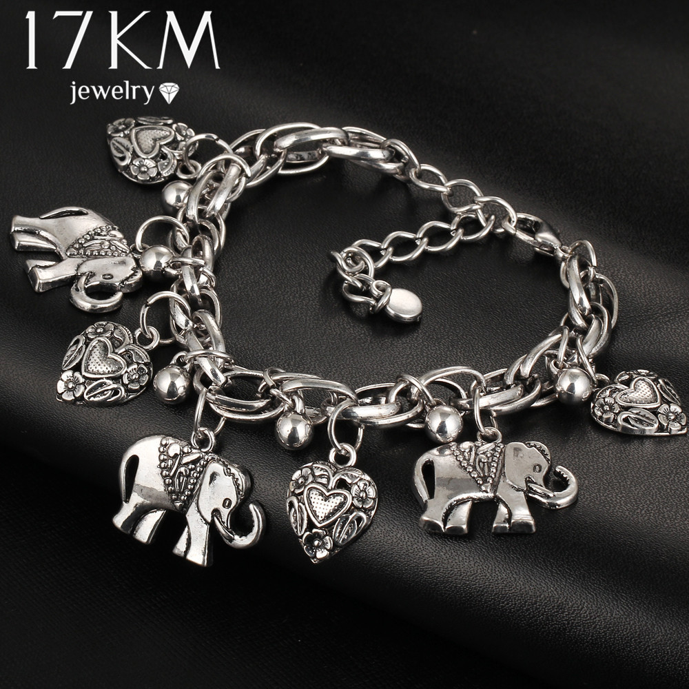 17KM Bracelets Elephant Vintage Women Jewelry Leaf Silver-Color Alloy for Pendant Bohemian