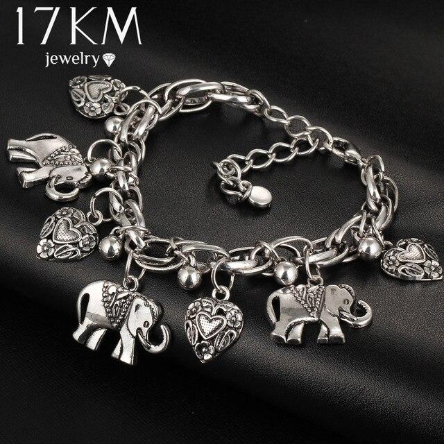 17 KM Braccialetti di Modo Dei Monili Dell'annata Per Le Donne Ciondolo Elephant