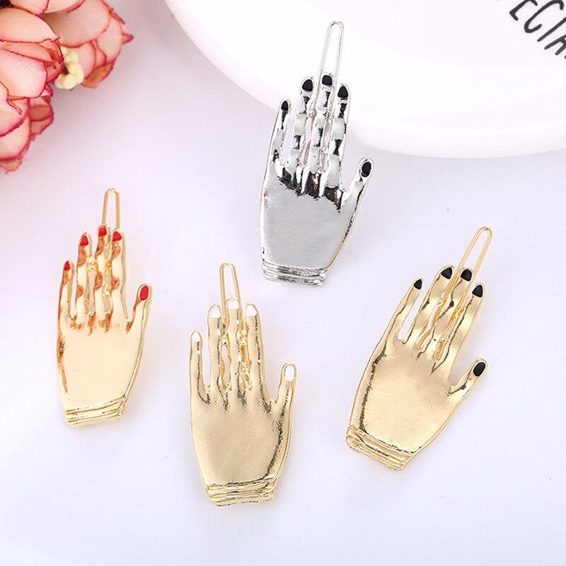 1 Stück Frauen Erklärung Lustige Hand Haarnadeln Zink-legierung Nail Hand Haarspangen Gold Silber Metallhaarspangen Elegant Im Geruch