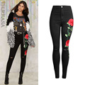 New women jeans spring ripped jeans pencil pants Embroidered Flares hollow out washed jeans high waist black pants female MZ1370