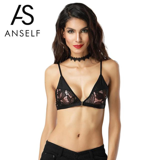ae69bddab6856 Anself Sexy Women Lingerie Bra Sheer Lace Bra Bustier Bralette Transparent  Cup Brassiere Crop Tank Top