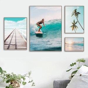 Image 3 - Surf fille pont mer plage paysage mur Art toile peinture nordique affiches et impressions photos murales pour salon décor