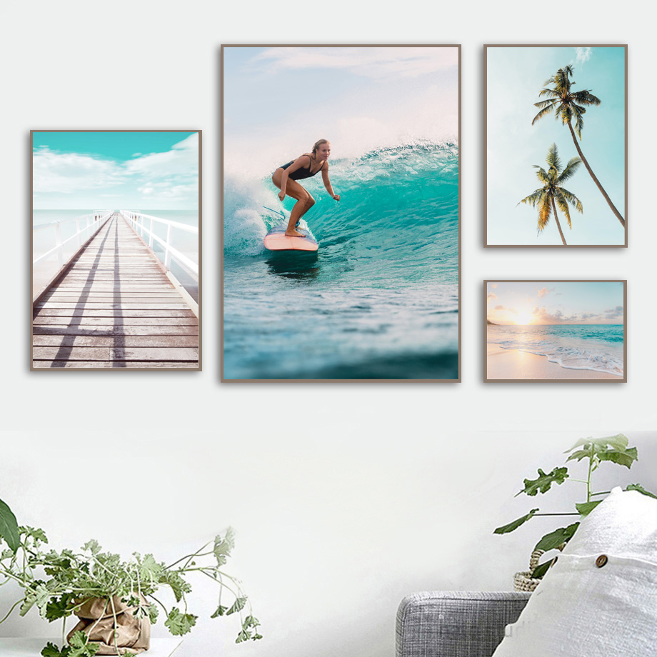 Image 3 - Surfing Girl Bridge Sea Beach Landscape Wall Art Canvas Painting Nordic Posters And Prints Wall Pictures For Living Room Decor-in Painting & Calligraphy from Home & Garden