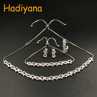 HADIYANA Elegant 4PC African Cubic Zinconia Jewelry Set for Women Costume Jewelry Choker Sets With Earrings Bracelet Ring CN445