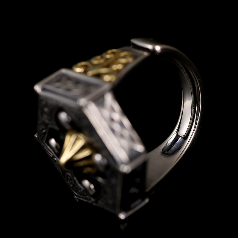Image 4 - Skills old silversmith 100% 925 Silver old nine door with male  personality the Buddha ring with William ring opening ring925  silversilver 925ring 925 silver