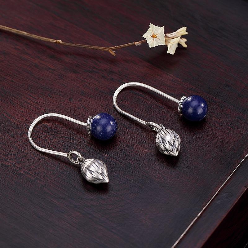 Retro Lapis Gemstones Earrings For Women Elegant Vintage Original Handmade Earrings Women Jewelry 2019