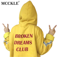 MCCKLE Harajuku Hoodies Letters Print Autumn And Winter Women Tops Boyfriend Style Loose Outerwear Pullovers Hooded