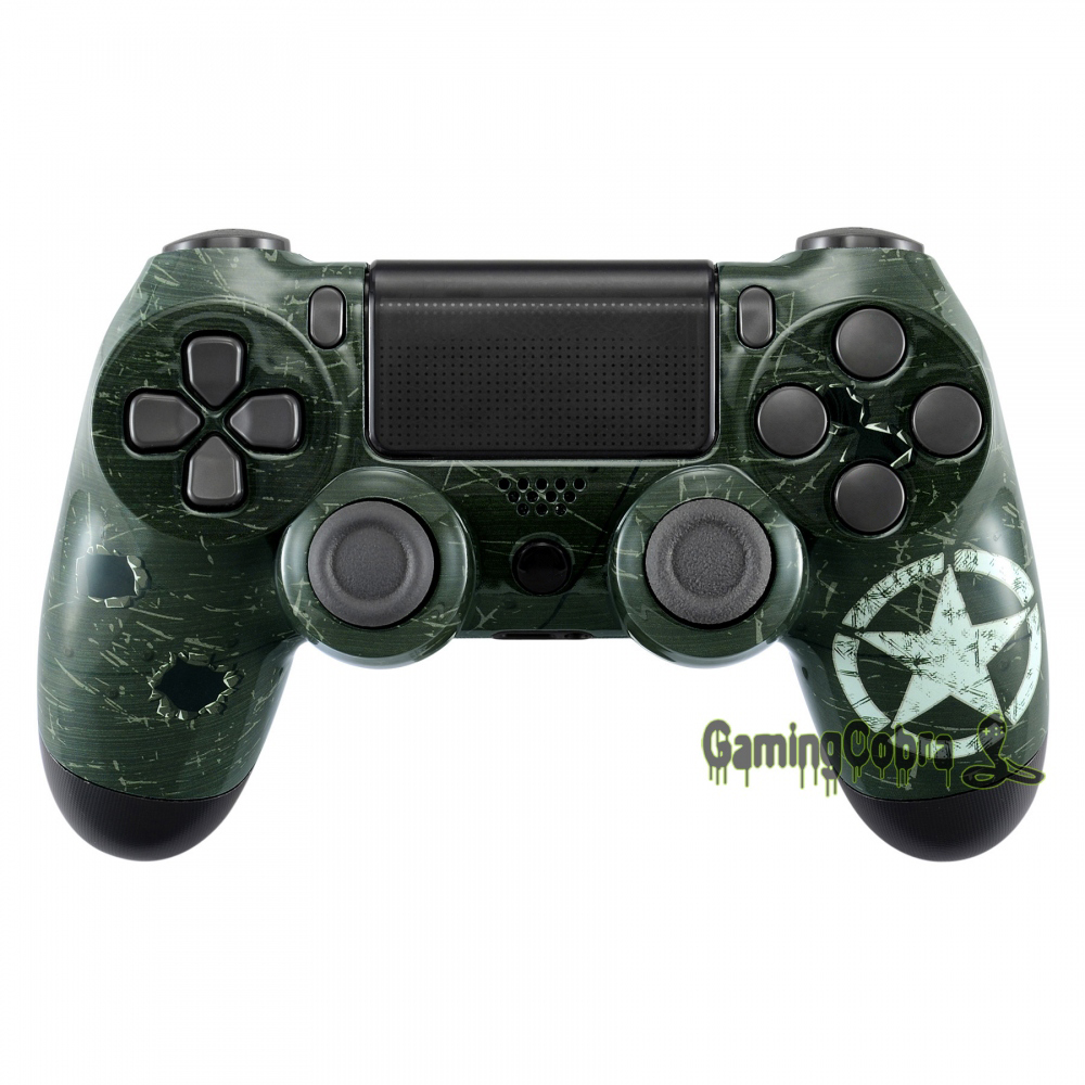 WWII US Army Overlord Patterned Top Housing Shell for PS4 Pro Slim Game Controller JDM-040
