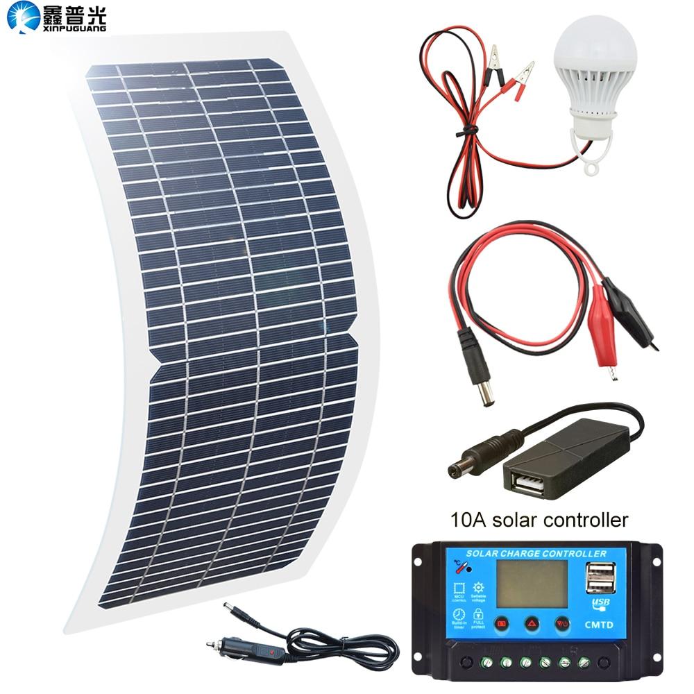 Xinpuguang 柔軟なソーラーパネル 18 V 10 ワット単結晶ポータブル PowerBank usb 屋外携帯電話 RV 車ボートのバッテリー充電器  グループ上の 家電製品 からの 太陽電池 の中 1