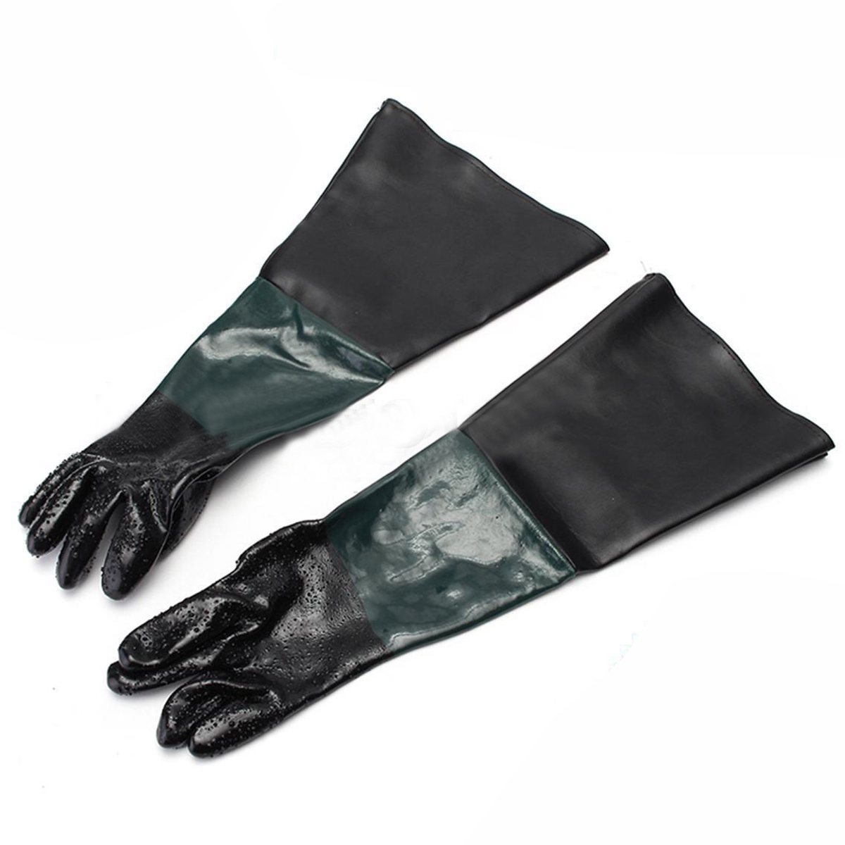 1 Pair Of Heavy Duty Gloves Soft PVC Vinyl Sandblasting Gloves 60cm For Sandblaster Sand Blast Cabinet Sandblasting Machine