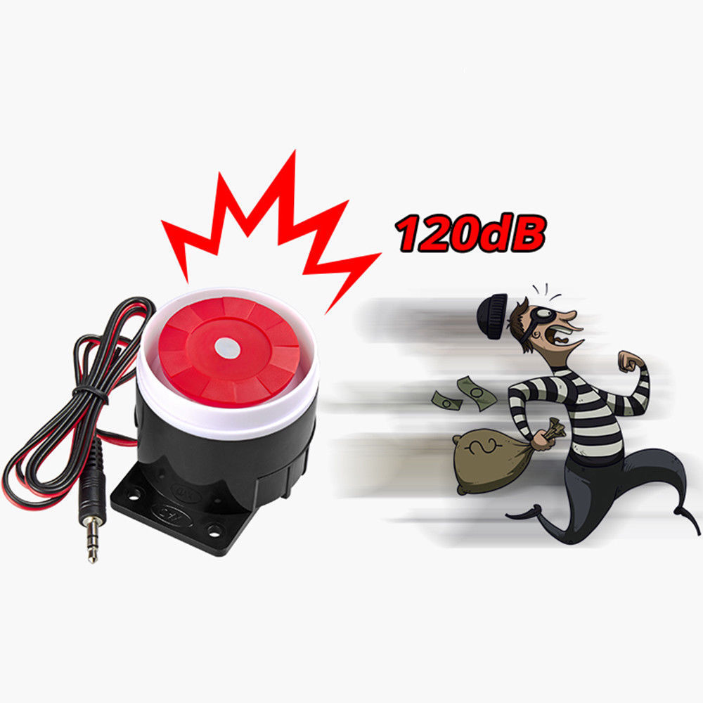 1Pcs Super Loud 120dB Sound Alarm System Compact DC 12V Indoor Siren Durable Wired Mini Horn Siren For Home Security Wholesale 120db loud security alarm siren horn speaker buzzer black red dc 6 16v
