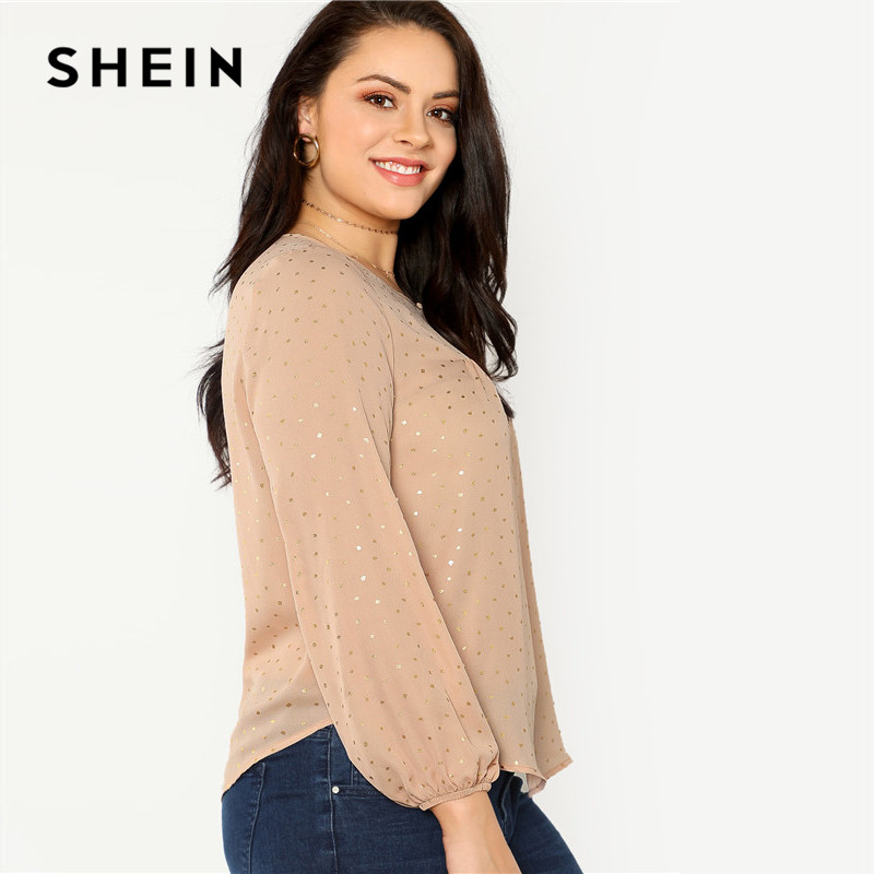 SHEIN Pink Long Lantern Sleeve Polka Dot Plus Size Women Blouse 2018 Autumn Office Lady Casual Round Neck Stretchy Top Blouses 1