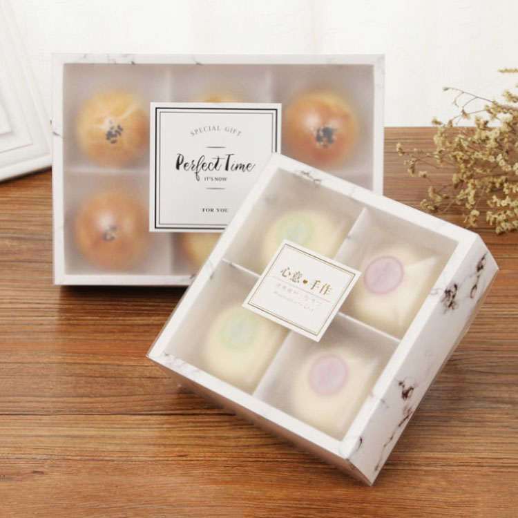 4/6 Cupcakes Marble Drawer Cake Paper Box With Clear Cover Wedding Party Cookies Box Gift Box For Cupcake Box And Packaging