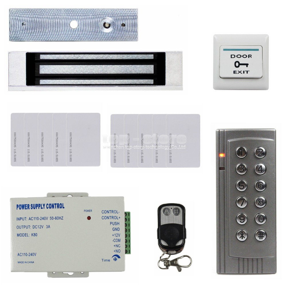 Full Kit Set 125KHz RFID Reader Password Keypad Access Control System Security Kit + 180KG Magnetic Lock Remote Control K4 diysecur 180kg magnetic lock door lock 125khz rfid password keypad access control system security kit for home office
