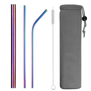 Extra wide straw reusable stainless steel drinking straw metal straw for smoothies tapioca pearls milk tea juice bar tools