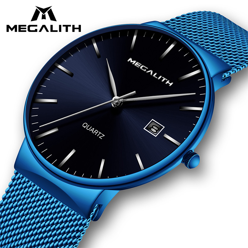 MEGALITH Fashion Quartz Watches Men Top Brand Luxury Watch For Men Waterproof Casual Wrist Watches Men Sports Clock Reloj Hombre fashion men watch wwoor brand casual watches men top brand waterproof luxury steel men wristwatches quartz watch reloj hombre