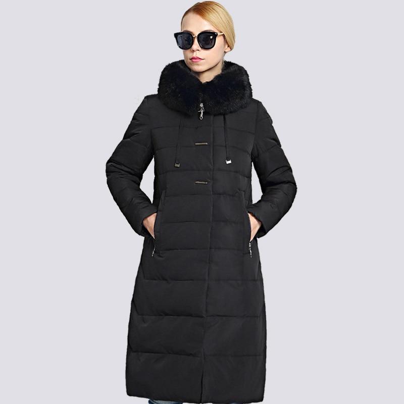 2019 جديد الشتاء سترة المرأة زائد حجم الفراء طوق طويل إمرأة معطف الشتاء سميكة عالية الجودة الدافئة أسفل سترة أبلى-في سترات فرائية مقلنسة من ملابس نسائية على  مجموعة 1