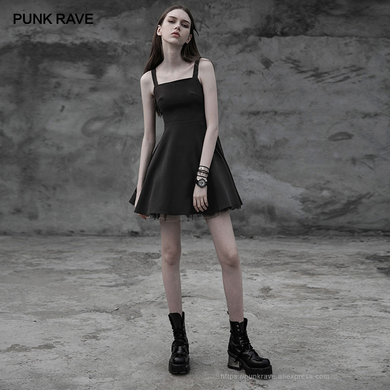PUNK RAVE New Gothic Women s Laced Back Cut out Black Mini Dress Punk Tie Rope
