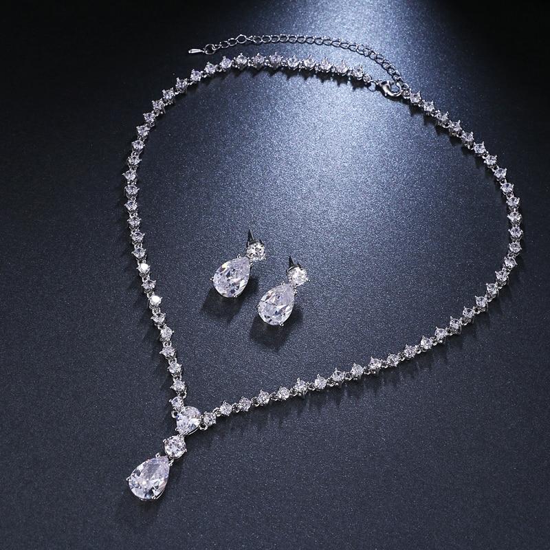 Emmaya Necklace-Set Wedding-Costume Crystal Women Earrings Brides Cubic-Zirconia Fashion