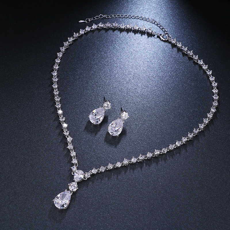 Emmaya Fashion Simple Cubic Zirconia Crystal Women Earrings Necklace Set For Brides Wedding Costume Jewelry Set