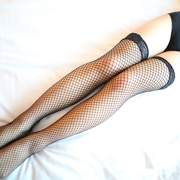 be2d2cc6eaf262 Free shipping Sexy Lace Top Fishnet Thigh High Stockings Women's stockings  red black white pink purple colors Drop