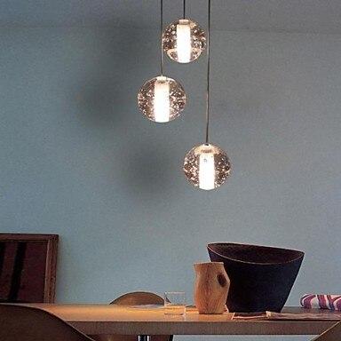 IWHD 3 Cabeças de Cristal Moderna Luzes Pingente Luminárias De Cristal Bola de Metal Chapeamento de Entrega Da Lâmpada Pingente de Iluminação