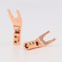 4pcs-vsy004-high-quality-oem-pure-red-copper-spade-plug-screw-locking-spade-fork-banana-plug