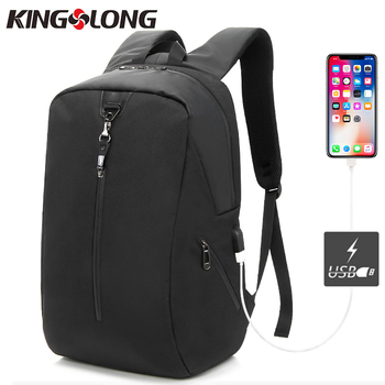 KINGSLONG Nylon USB charging Men 15inch Laptop Anti Thief Backpacks For Teenager Fashion Mochila Travel Bag KLB180621B-5