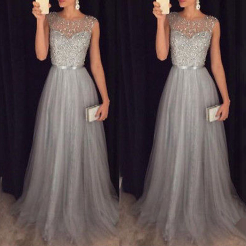 Vestido Fiesta Largo Prom Dress 2019 New Elegant O Neck Sleeveless Sequined Long Wedding Party Gowns Vestido Lentejuelas Largo(China)