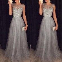 Vestido Fiesta Largo Prom Dress 2020 New Elegant O Neck Sleeveless Sequined Long Wedding Party Gowns Vestido Lentejuelas Largo